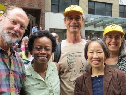 Five members of our congregation at a climate justice rally.